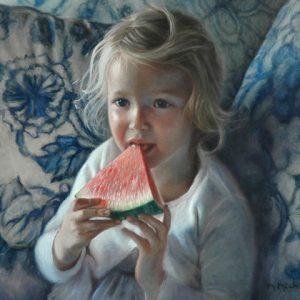 Fillette et melon