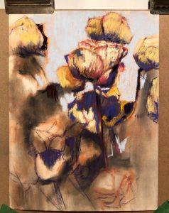 Oeuvres pastel d'un bouquet de roses