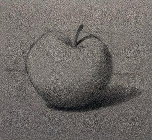 tons foncés dessin pomme.