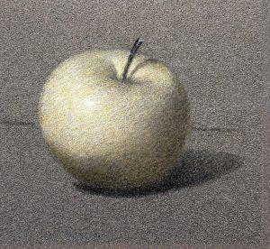 Premier glacis sur dessin pomme.