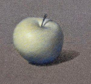 Glacis de couleur sur le dessin de la pomme.