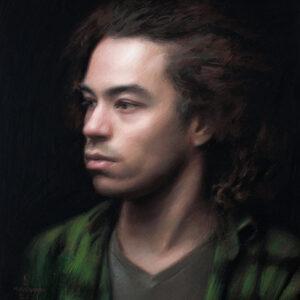 "Alex Kasyan Portrait Artist ""Morgan"" painting in pastel"